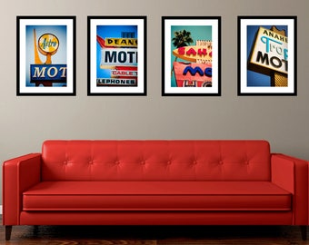 Set of Los Angeles Motel Sign Prints | Mid Century Modern Art | Neon Sign Prints | Retro Home Decor | Googie Art | Motel Prints | LA Art
