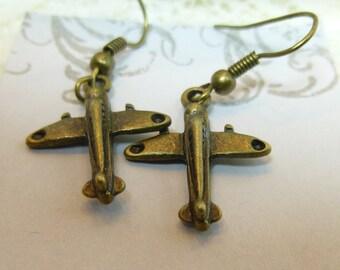 Bronze Airplane Earrings Flight Attendant Earrings Flight Attendant Jewelry