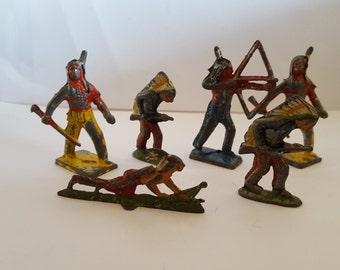 Vintage lot of 6 lead toy Indians, chippy paint, unmarked 1930's possibly.