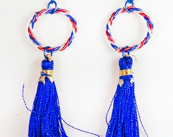PATRIOTIC EARRINGS, Americana earrings, blue earrings, 4th of July, Memorial Day, Flag Day, Independence Day, twisted wire hoops - 1839+