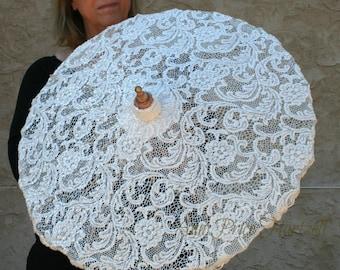 Parasol Ivory Fancy Lace Parasol