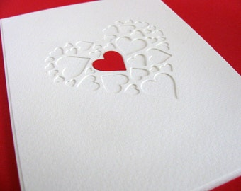 Single Red Heart on Creamy Ivory Multi Heart Card / Love, Engagement, Wedding, Anniversary / A2 Size / Made to Order