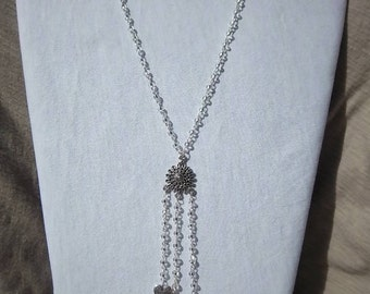 SALE Silver necklace-Hope with all my hearts- silver wire - small clear beads - Tibetan heart beads-