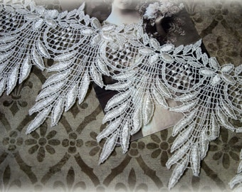"""Ivory Venice Floral and Leaf Pattern Lace for l, Costumes, Sashes, Sewing, Altered Art, Couture Gowns, Crafts approx. 4"""" LA-180"""