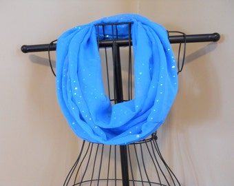 Fabric Infinity Scarf Sheer Turquoise Sparkle