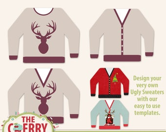 Ugly Sweater Layred Digital Templates