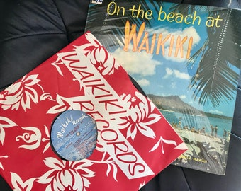 On the Beach at Waikiki. Compilation. Waikiki Records. Vintage Vinyl Record, Hawaiian Music, Rare, Collectors. LP