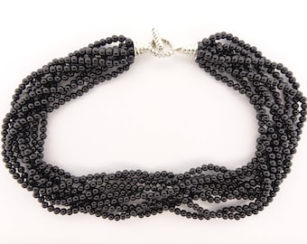 Tiffany Black Onyx Multi-strand Torsade Necklace with sterling silver clasp