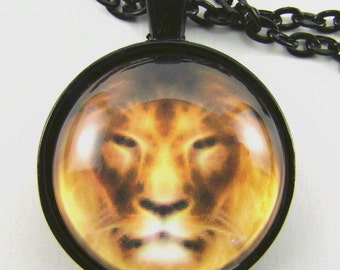 Men's LION Necklace -- Lion in amber shades with flaming mane, Natural history necklace, Animal totem, African savannah cat