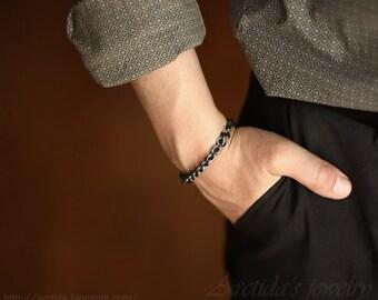 Herren Armband Männer Schmuck Chainmaille oxidiertem sterlingsilberarmband für Männer - Herren Mode Mann sexy männlich männlich - Adonis
