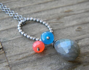 large labradorite necklace - oxidized sterling silver