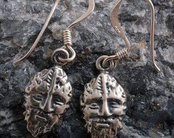 Handmade Sterling Silver Greenman Earrings dangle 925