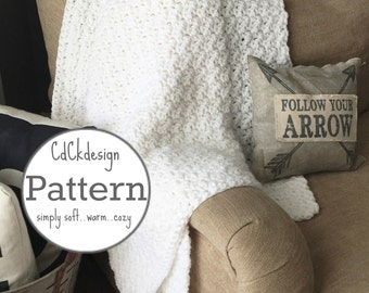 Crochet Pattern//Chunky Throw Blanket - White French Country Throw Blanket - Farmhouse Decor - Beginners Pattern
