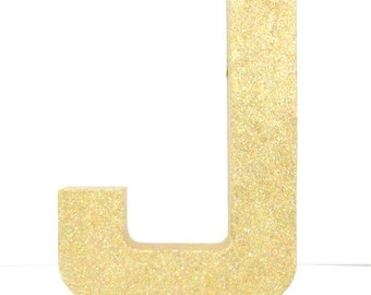 Glittered 12 Inch Letter, All Sides Glittered, Protective Varnish Topcoat, Stand Alone Paper Mache, Choose Letters, Choose Glitter Color