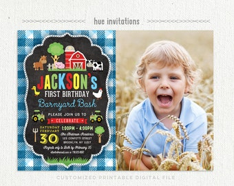 farm 1st birthday invitation for boys, blue barnyard bash 1st birthday party invitation with photo, barn tractor cow pig, printable file