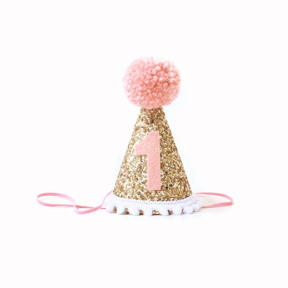 First Birthday Girl Party Hat Blush Pink Gold 1st Birthday