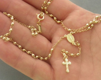 Gold Filled Little Rosary Necklace w/ clasp Delicate Look Gold Necklace Sturdy Built Gold Rosary Gold Filled Jewelry