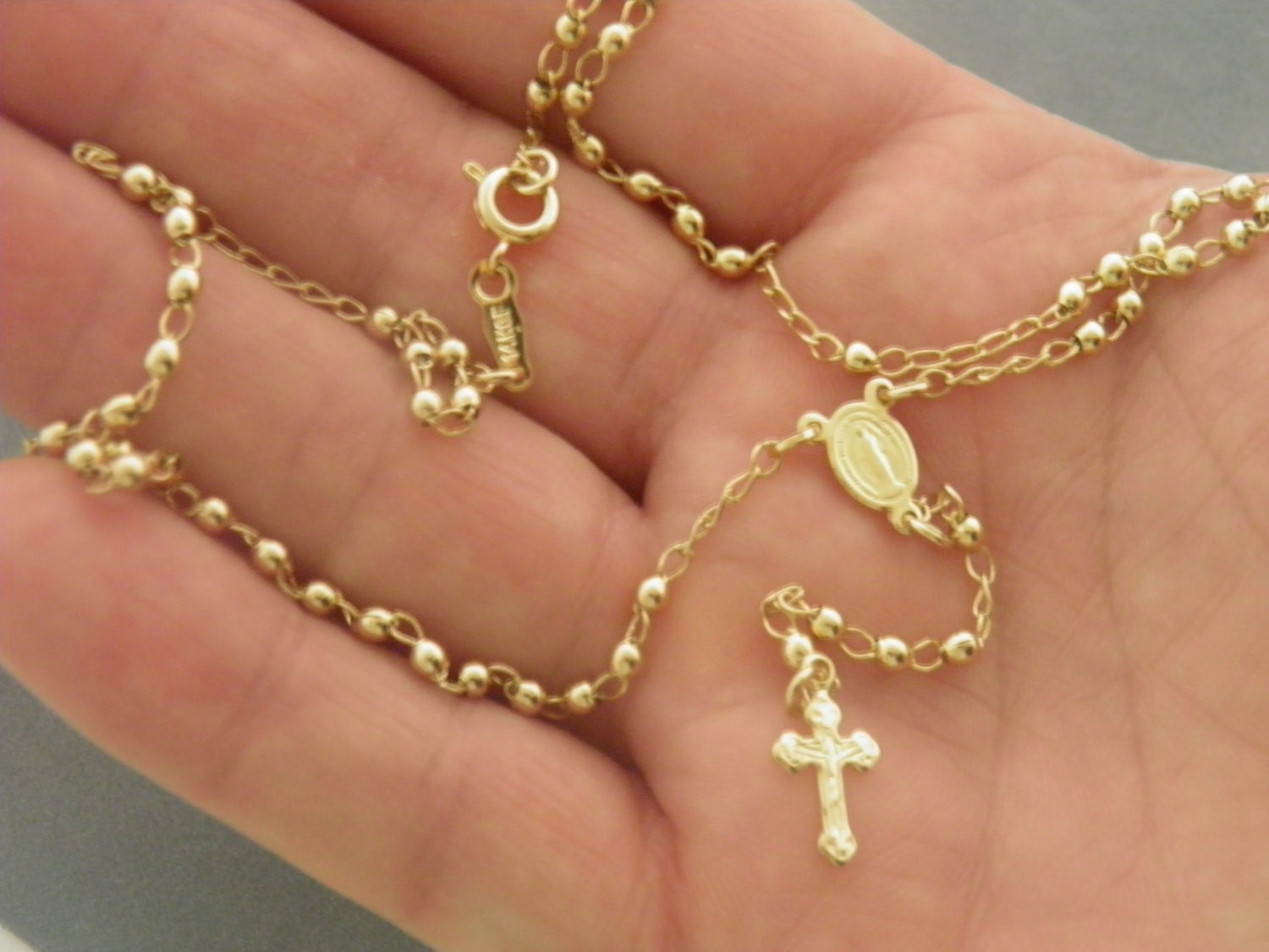 Gold Filled Little Rosary Necklace w clasp Delicate Look Gold