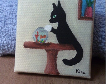 Adventures With Socks The Cat Series - Dinner Time? / 2x2 Miniature Canvas Painting For a Dollhouse or Decoration