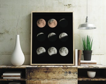 Lunar eclipse Black Poster, Art, print, wall decor 5 x 7 inch, 8 x 10 inch, 11 x 14 inch