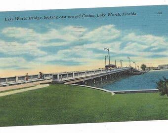 Vintage Florida Linen Postcard Lake Worth Bridge Looking East Toward Casino USED