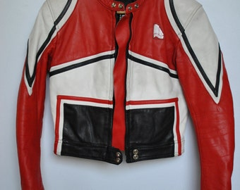 Vintage KRAWEHL LEATHER JACKET , women's motorcycle leather jacket ....(145)