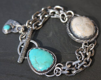 RESERVED oOo turquoise, fossil sand dollar, lapis lazuli, and sterling silver metalwork link bracelet
