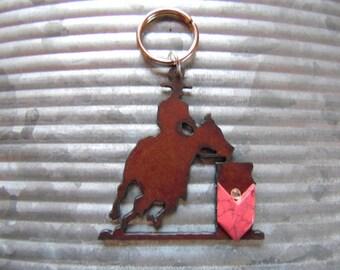 Barrel Racing Keychain, Barrel Racing Horse, Running Horse, Horse Lover Gift, Horse Keychain, Cowgirl Keychain, Rodeo Jewelry, Horse Gift