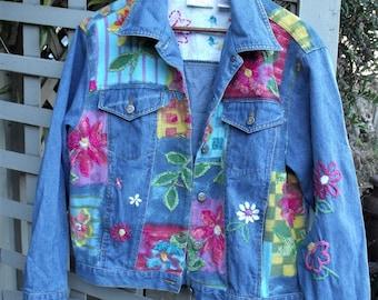 Denim Jacket/ Retro Susan Bristol/ Embroidered Denim/ Artsy Jacket/ Embellished Denim/ Painted Denim/ Shabbyfab Funwear/ Thrifted Couture