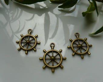 Charm, bronze ship wheel pendant