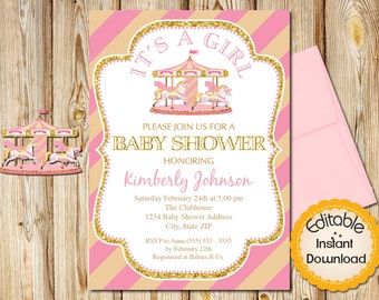 "Baby Shower Invitation, Girl, Pink and Gold Carousel, INSTANT download, EDITABLE in Adobe Reader, DIY, Printable, 5""x7"""