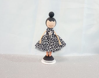 Customizable Girl Wooden Clothespin Doll- Black Daisies Dress