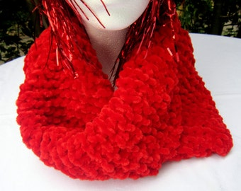 Big red cowl neck warmer. Knitted in soft chenille. Thick, warm. Luxurious and soft.