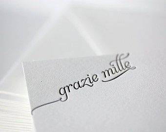grazie mille | letterpress thank you cards in italian