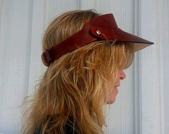 Leather Visor for Men or Women. Handmade Custom Leather for Christmas gift or Groom, Father and even Gift for a Boyfriend. Made in the USA