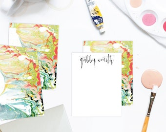 WILD Multi-Colored Marble Custom Stationery | Flat Notes |  Set (10)