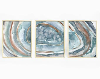Turquoise Agate Print, Crystal Wall Art, Geode Painting, Watercolor Decor, Abstract Prints, Print Set of 3, Agate Triptych, Modern Artwork