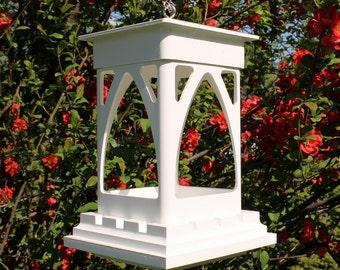 Outdoor vinyl bird feeder tray feeder PVC decorative low maintenance Bridgeport EZ Clean hanging Bird feeder -Gothic style- Made in the USA