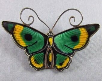 "OBO - David Andersen Sterling Silver Vintage Norway Enamel Butterfly Brooch Pin, 1-3/4"""