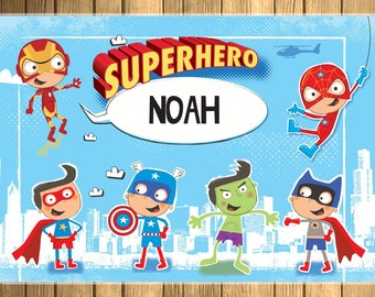 Children's Personalised SuperHero Placemat