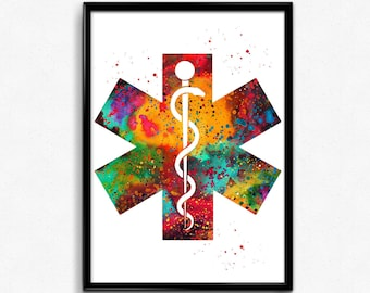 Rod of Asclepius, Heartbeat, Medical print, Nurse Graduation gift, Paramedics, Poster, Room Decor, gift(660)
