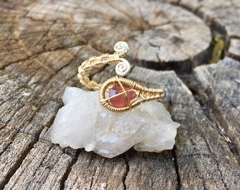 Pink Tourmaline 14ct. Goldfill and Sterling Silver Wrap Ring