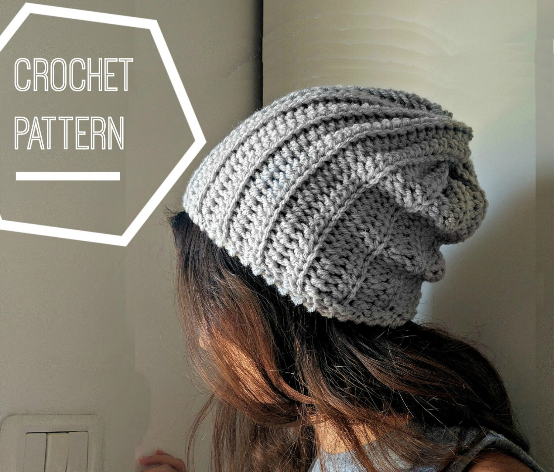 Ribbed Crochet Beanie Pattern, Slouchy Crochet Hat Pattern, Slouchy ...