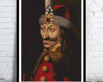 Vlad the Impaler - portrait - poster print minimalist pop art  draw paint wall Dracula Prince of  Wallachia  Dracul Tepes vampire