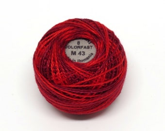 Valdani Pearl Cotton Thread Size 8 Variegated: #M43 Vibrant Reds