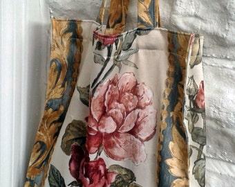 Reusable Shopping Bag, Grocery Bag, Upcycled Bag, Rose Print Fabric Bag