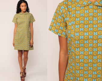 Mod Mini Dress 60s PETER PAN Collar Floral BUTTERFLY Shift Dolly 1960s Hippie Vintage Sixties Twiggy Olive Green Blue Short Sleeve Large
