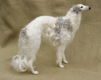 Made to order needle felted dog, Borzoi, custom portrait, pose-able wool sculpture, memorial, 11-12 month turnaround time