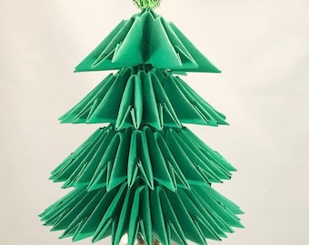 Green Handmade 3D Origami Christmas Tree Christmas/Holiday Ornament with a Silver Jingle Bell