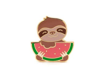 Sloth Enamel Pin - Hard Enamel Pin Sloth Lapel Pin Watermelon Pin 3 Toed Sloth Kawaii Pin Sloth Brooch LuxCups Pin Sloth Pin Sloth Jewelry